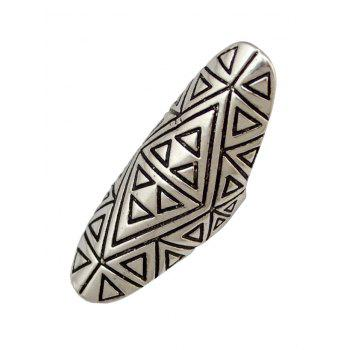 Trendy Emboss Triangle Oval Finger Ring