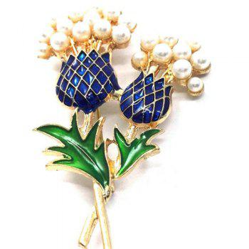 Enamel Pineapple Faux Pearl Brooch