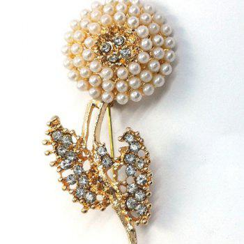Zircon Faux Pearl Flower Brooch