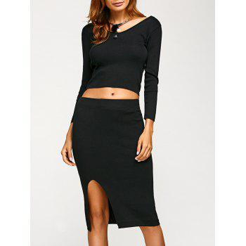 Slim Crop T-Shirt+Slit Skirt