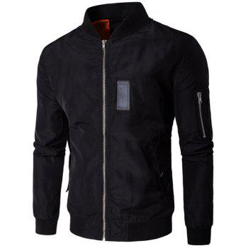 Stand Collar Pocket Design Zippered Jacket - BLACK BLACK