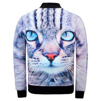 Stand Collar 3D Cat Print Jacket - COLORMIX XL