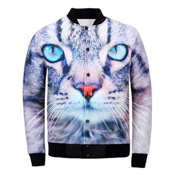 Stand Collar 3D Cat Print Jacket