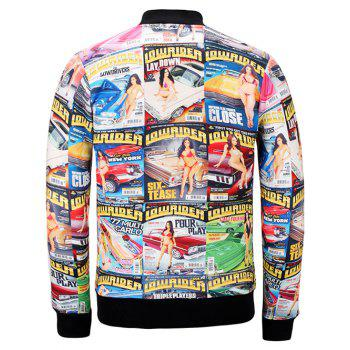 Stand Collar 3D Poster Print Jacket - COLORMIX M