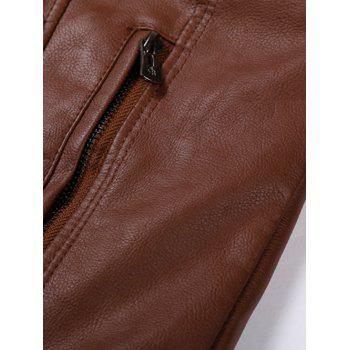 Stand Collar PU-Leather Zipper Embellished Jacket - BROWN BROWN
