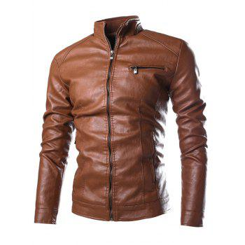 Stand Collar PU-Leather Zipper Embellished Jacket