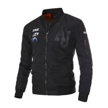 Stand Collar PU-Leather Applique Zip-Up Thicken Jacket