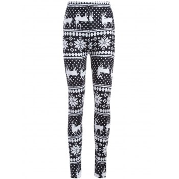 Snowflake Deer Print ChristmasLeggings