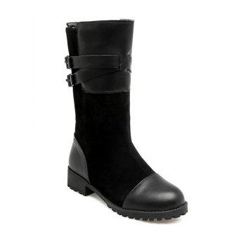 Double Buckle Splicing Mid-Calf Boots