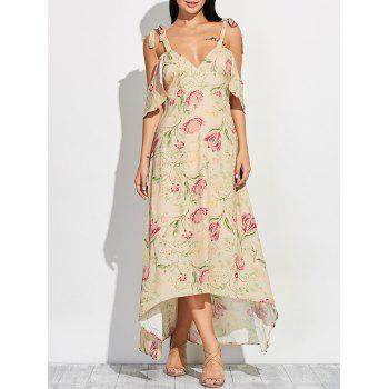 Cold Shoulder Maxi Floral Dress