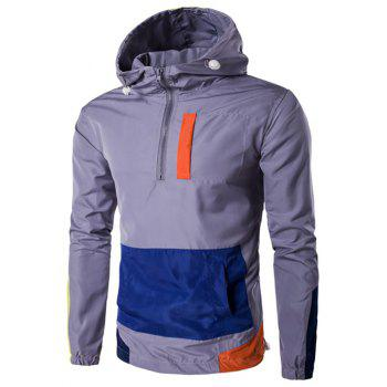 Plus Size Hooded Half-Zip Color Block Spliced Jacket