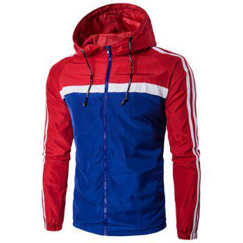 Color Block Splicing Stripe Hooded Zip-Up Plus Size Jacket