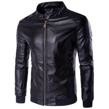 Rib Splicing Zip-Up Plus Size PU-Leather Jacket