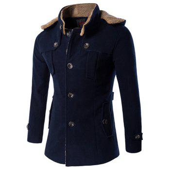 Buy Hooded Plus Size Fleece Single-Breasted Woolen Coat CADETBLUE