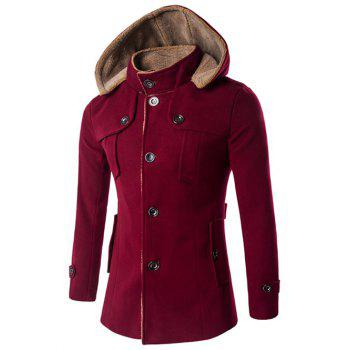 Hooded Plus Size Fleece Single-Breasted Woolen Coat