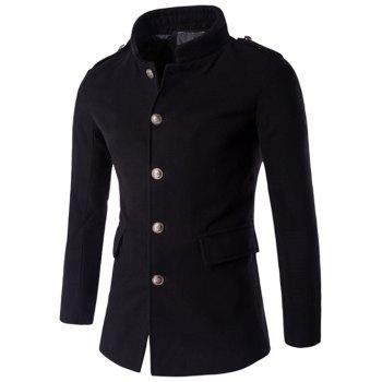 Stand Collar Epaulet Plus Size Single-Breasted Woolen Coat
