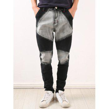 Low-Slung Crotch Zipper Fly Bleach Wash Splicing Jeans