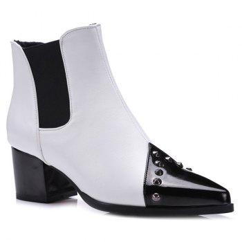 Rivet Chunky Heel Pointed Toe Ankle Boots