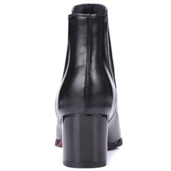 Rivet Chunky Heel Pointed Toe Ankle Boots - BLACK 37