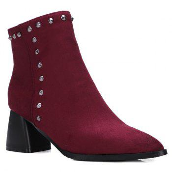 Flock Rivet Pointed Toe Chunky Heel Boots