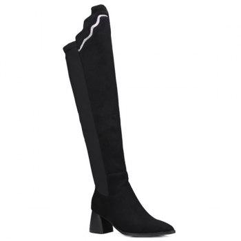 Pointed Toe Chunky Heel Knee-High Boots