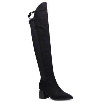 Buckle Strap Chunky Heel Knee-High Boots
