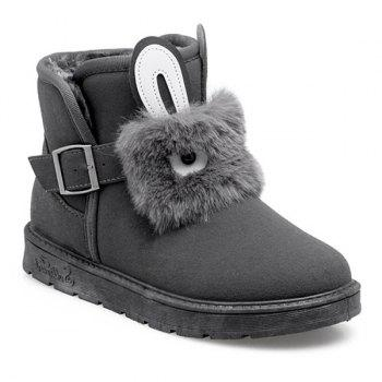 Rabbit Buckle Strap Snow Boots
