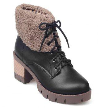 Chunky Heel Lace-Up Fuzzy Short Boots