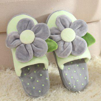 Flower Polka Dot Flocking House Slippers - ONE SIZE(35-39) ONE SIZE(35-39)