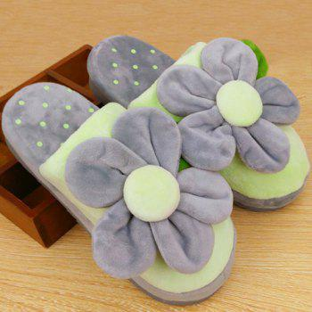 Flower Polka Dot Flocking House Slippers