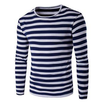 Buy Contrast Color Striped Long Sleeve T-Shirt PURPLISH BLUE