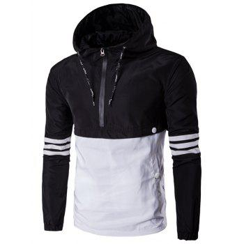 Drawstring Design Hooded Half-Zip Varsity Stripe Jacket