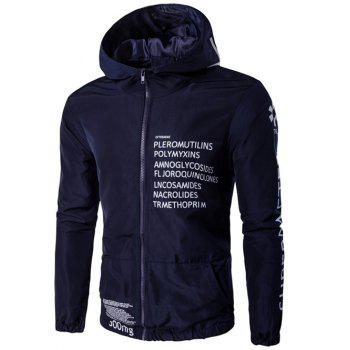 Buy Zip-Up Plus Size Hooded Graphic Print Jacket CADETBLUE