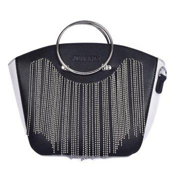 Letter Embossed Fringe Metal Ring Handbag