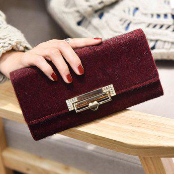 Metallic Fuzzy Clutch Wallet -  WINE RED