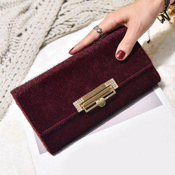 Metallic Fuzzy Clutch Wallet - WINE RED WINE RED