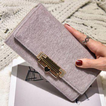 Metallic Fuzzy Clutch Wallet