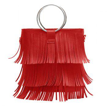 PU Leather Multi Fringe Metal Ring Handbag
