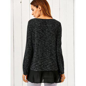 Chiffon Patchwork Heather Asymmetrical T-Shirt - BLACK GREY XL