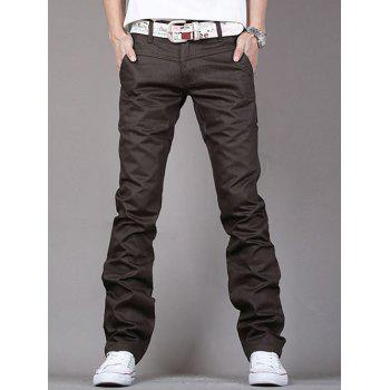 PU-Leather Edging Straight Leg Pants