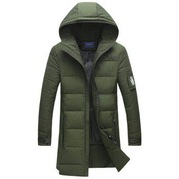 Buy Thicken Hooded Lengthen Cotton-Padded Coat GREEN