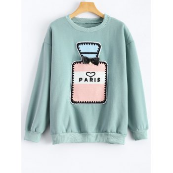 Crew Neck Perfume Bottle Patch Fleece Sweatshirt