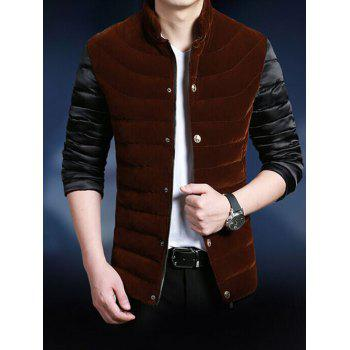 Color Block Stand Collar Zip-Up Splicing Thicken Jacket