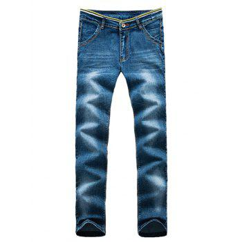 Patch Design Pocket Striped Waist Zip Fly Jeans