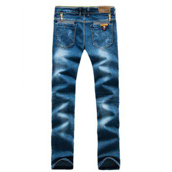 Patch design Striped Pocket taille Zip Fly Jeans - Bleu 29