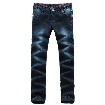 Arrow Pattern Patch Zipper Fly Jeans
