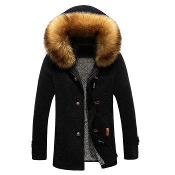 Buy Patch Design Zipper-Up Fur Hooded Jacket BLACK