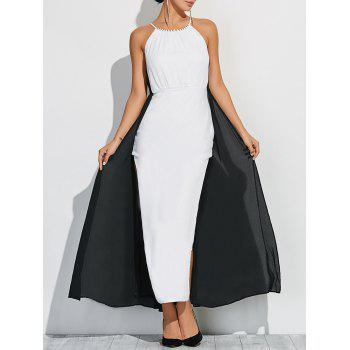 Buy Color Block Maxi Halter Dress WHITE/BLACK