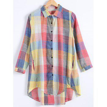 Plus Size Button Up Checked Linen Shirt Dress