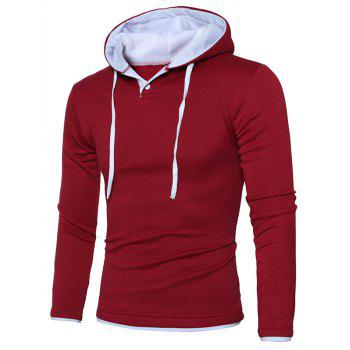 Color Splicing Hooded Long Sleeve Hoodie - RED/WHITE M